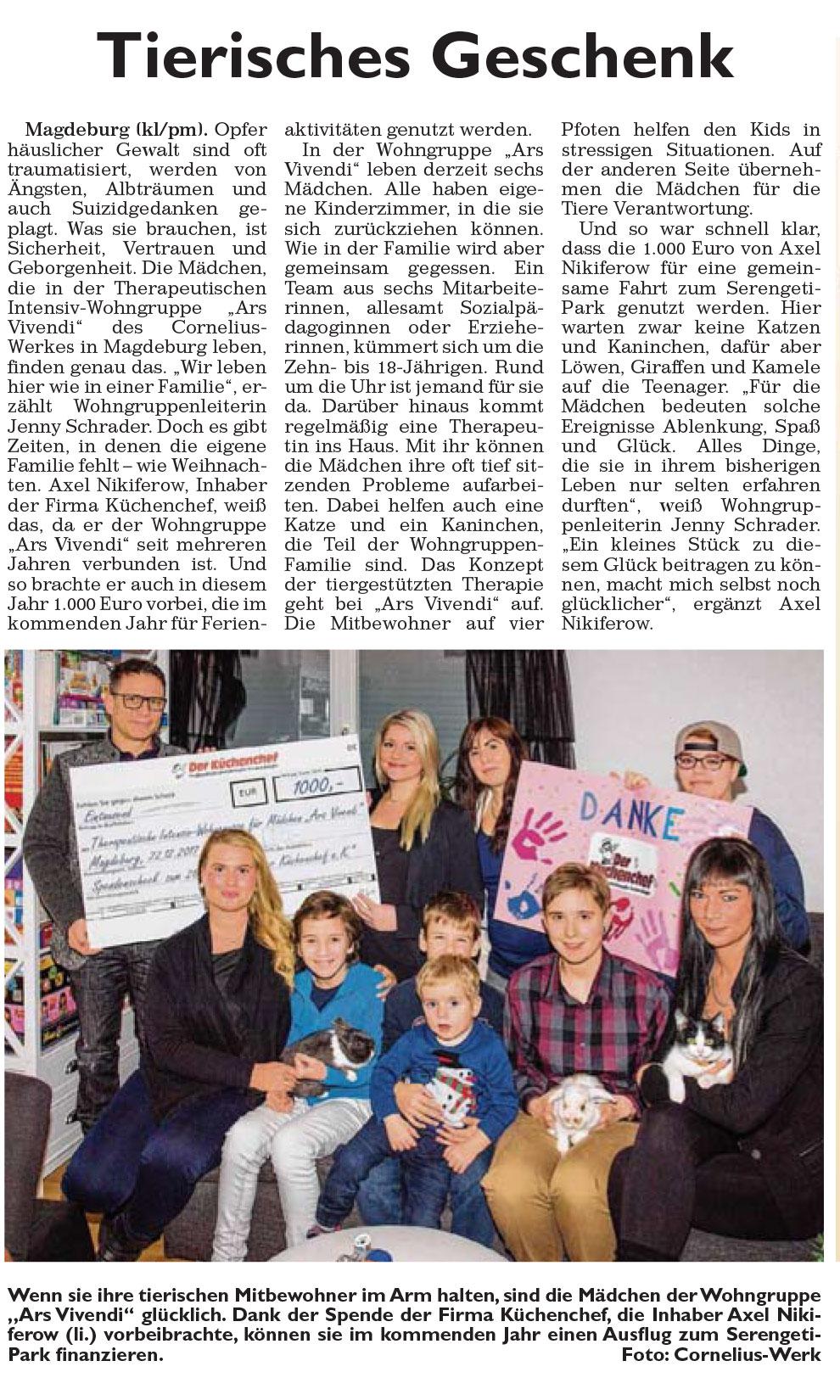 Artikel - Tierisches Geschenk - Magdeburger Generalanzeiger vom 31.12.2017